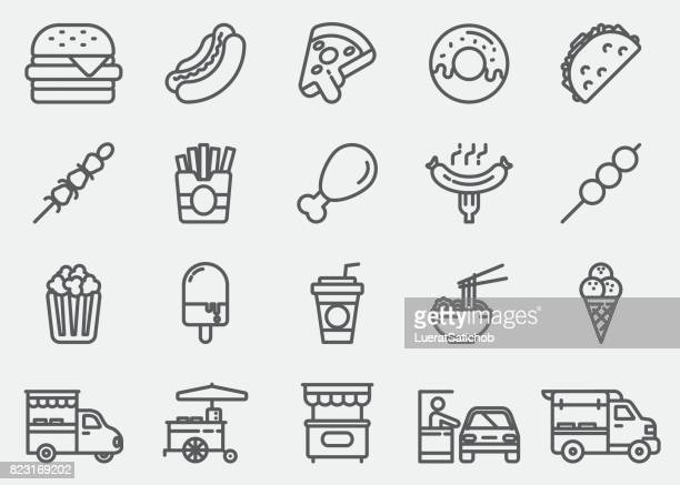 fast food line icons - unhealthy eating stock illustrations