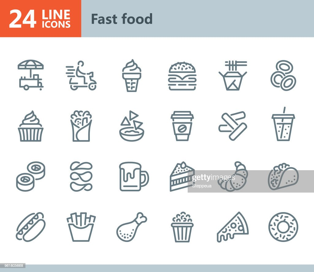 Fast Food - line vector icons : stock illustration