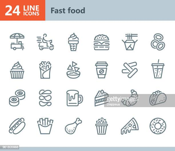 fast food - line vector icons - unhealthy eating stock illustrations