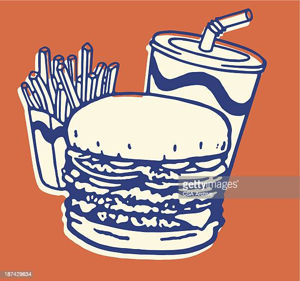 stockillustraties, clipart, cartoons en iconen met fast food meal of french fries, burger, and soda - food and drink