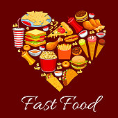 Fast food meal poster. Vector heart shape