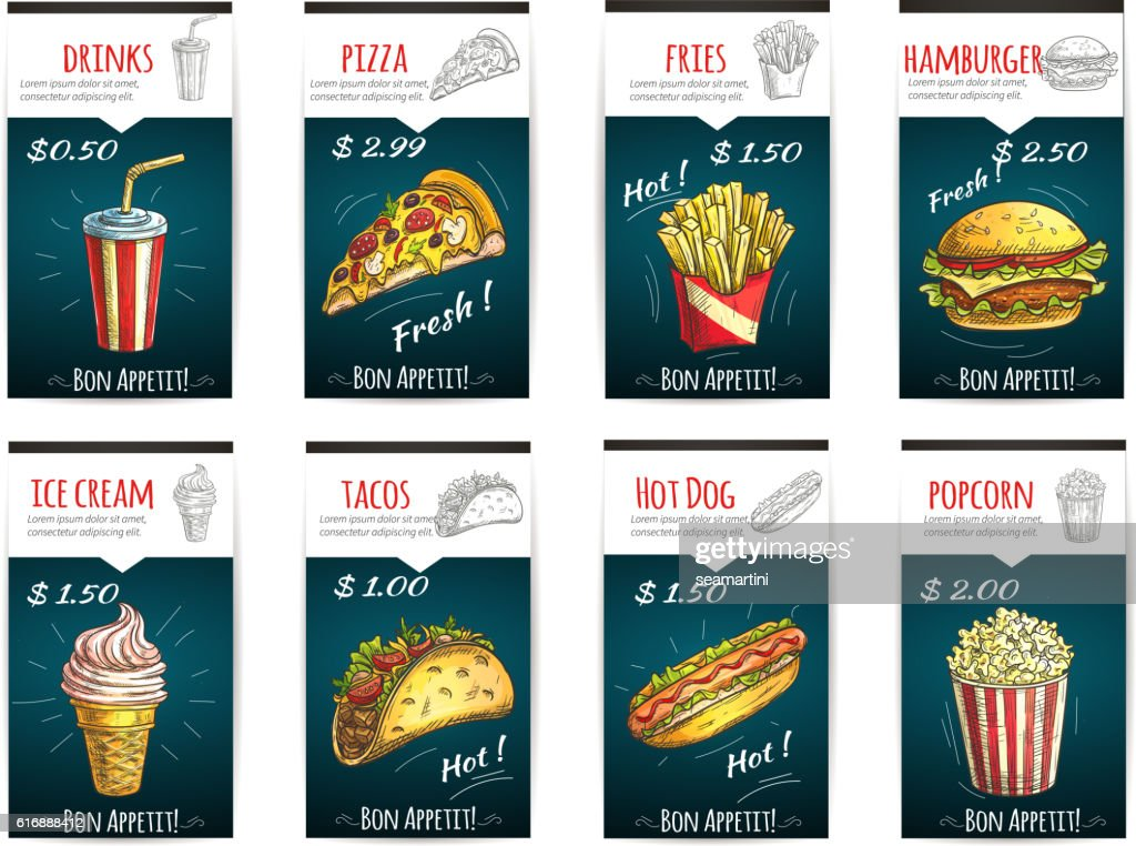 Fast food menu price posters with description
