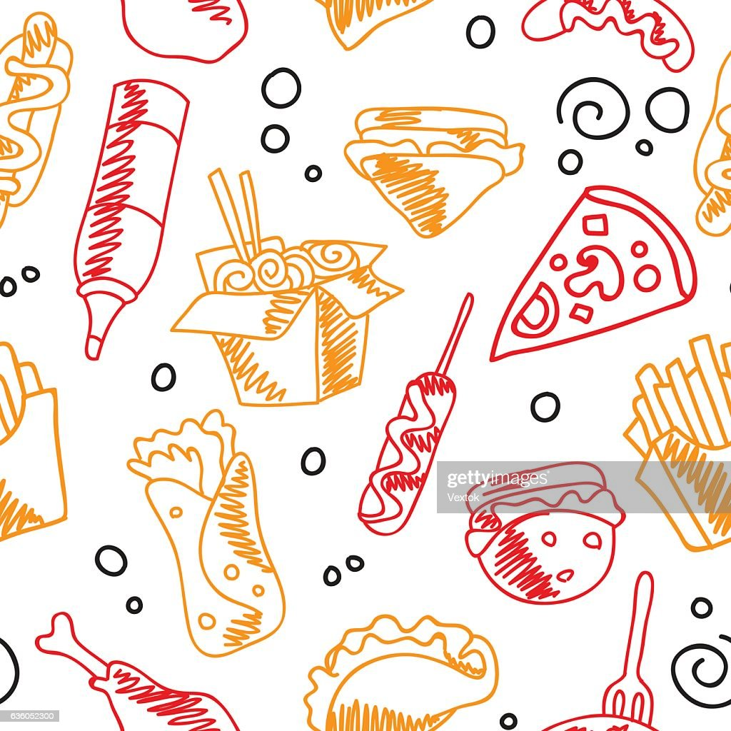 Fast food menu. Set of icons on the seamless pattern.