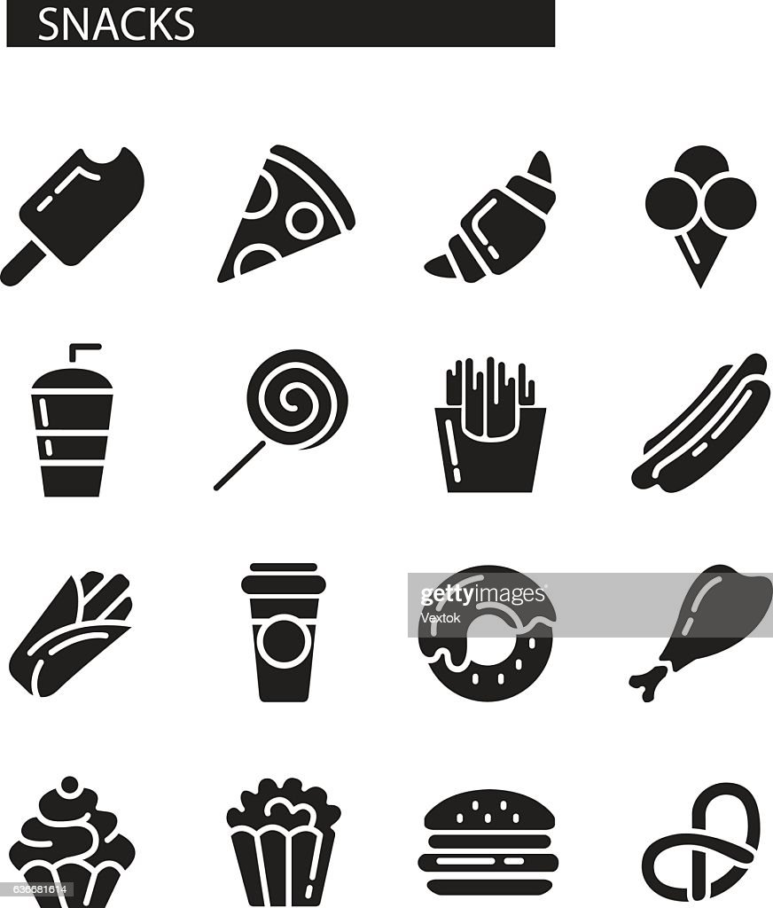 Fast food menu. Set of icons on the vector background.