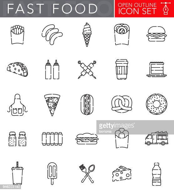 fast food open outline icon set - pretzel stock illustrations, clip art, cartoons, & icons