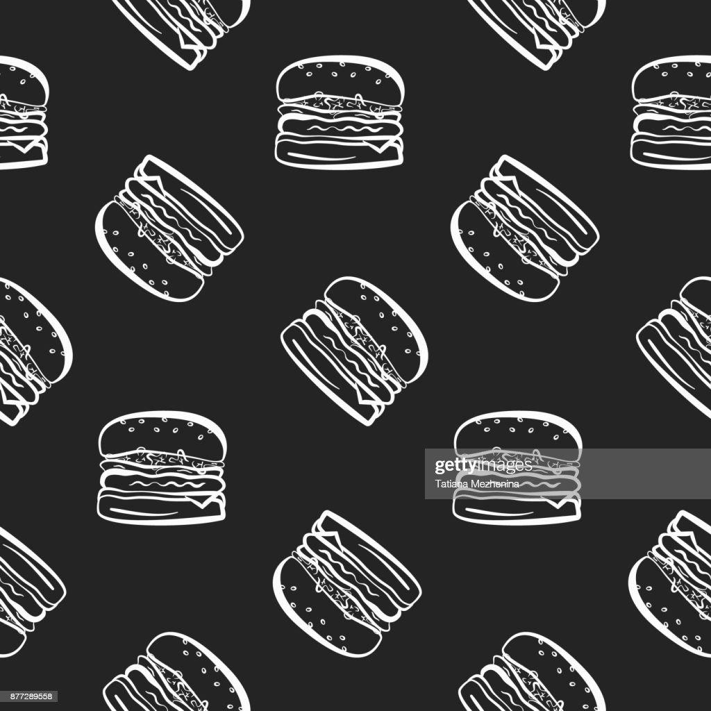 Fastfoodmuster Mit Burgern Auf Schwarzem Hintergrund Vektorgrafik ...