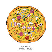Fast food pizza illustration isolated on a white background