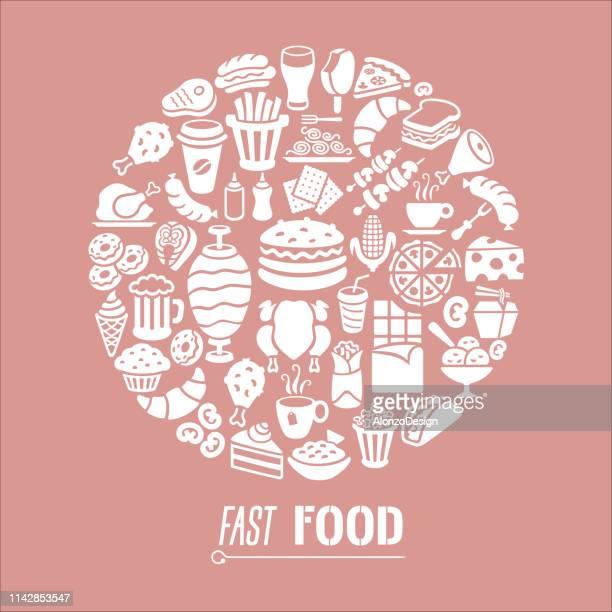 fast food restaurant collage - breakfast cartoon stock illustrations