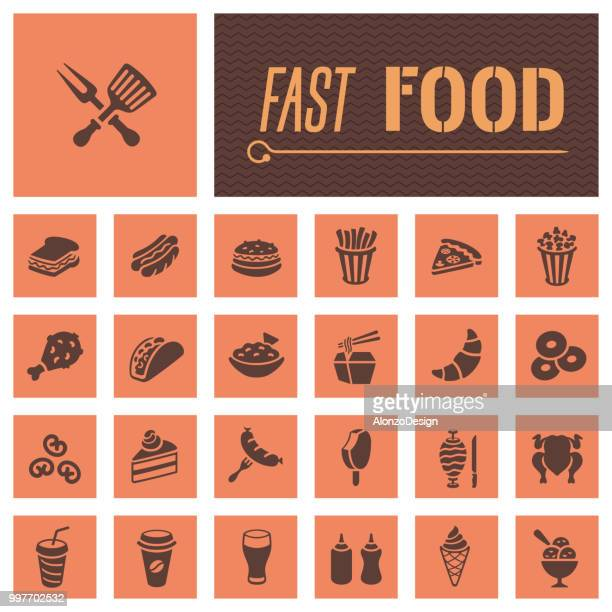 fast food restaurant icons - waffle stock illustrations, clip art, cartoons, & icons