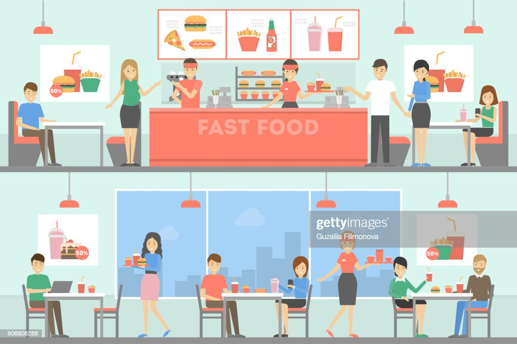 Fast food restaurant interior set with people.