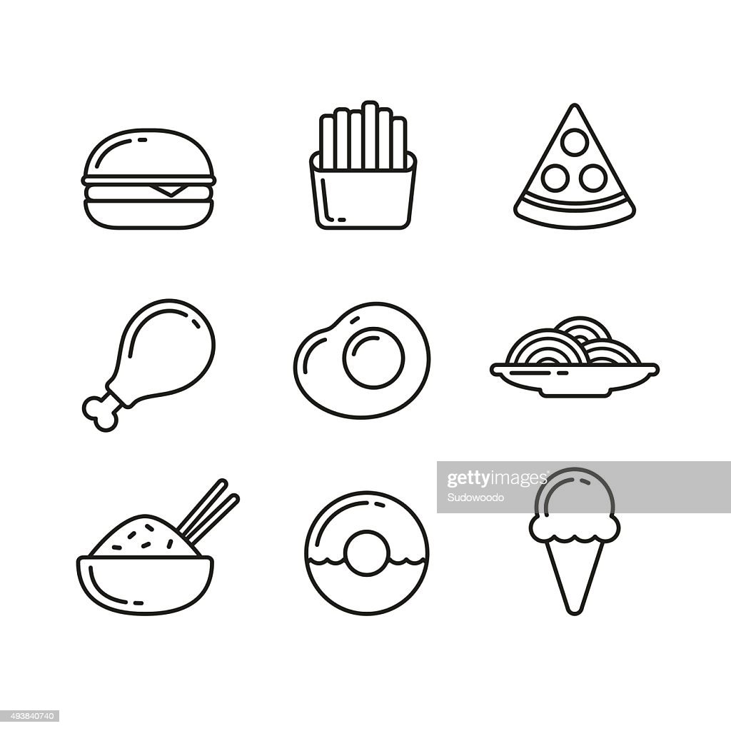 Fast food restaurant line icons