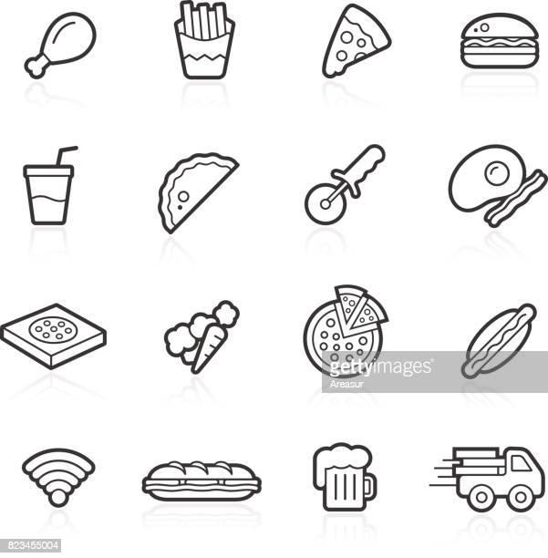 ilustrações, clipart, desenhos animados e ícones de restaurante de fast food | lineal - frito