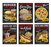 Fast food restaurant menu price card on blackboard