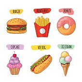 Fast food. Set of cartoon vector icons.