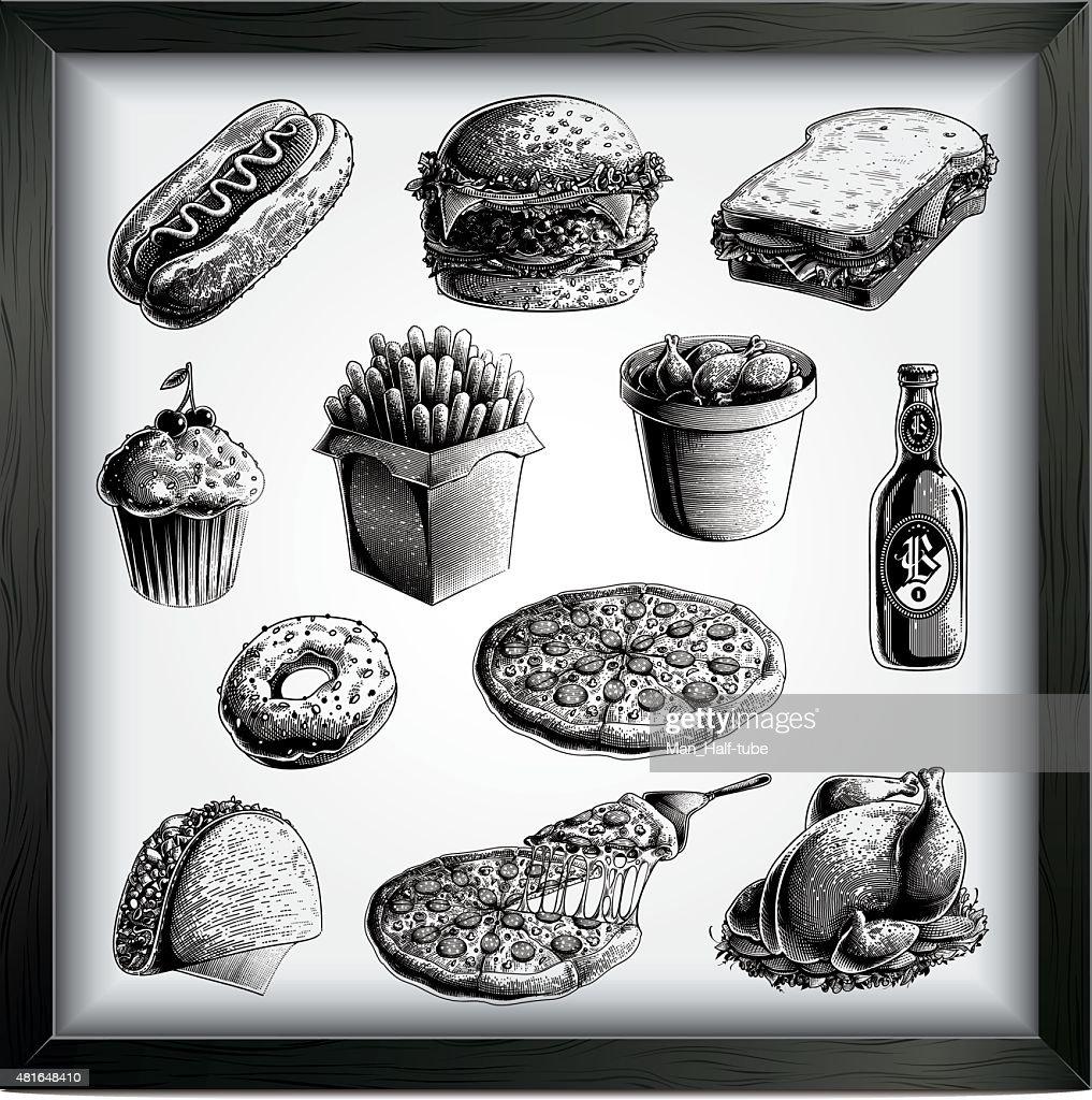 Fast food set : stock illustration