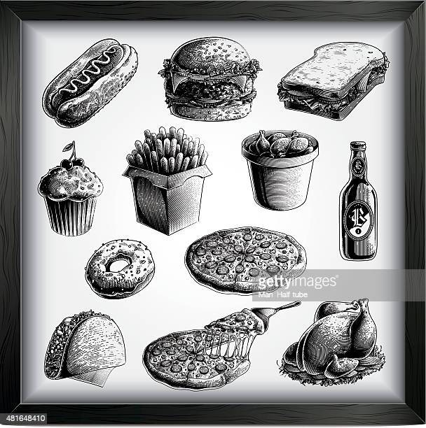 fast food set - woodcut stock illustrations