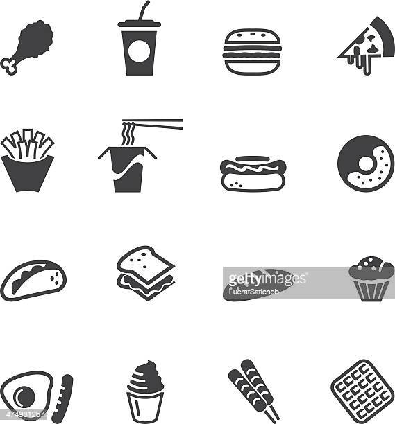 fast food silhouette icons - waffle stock illustrations, clip art, cartoons, & icons