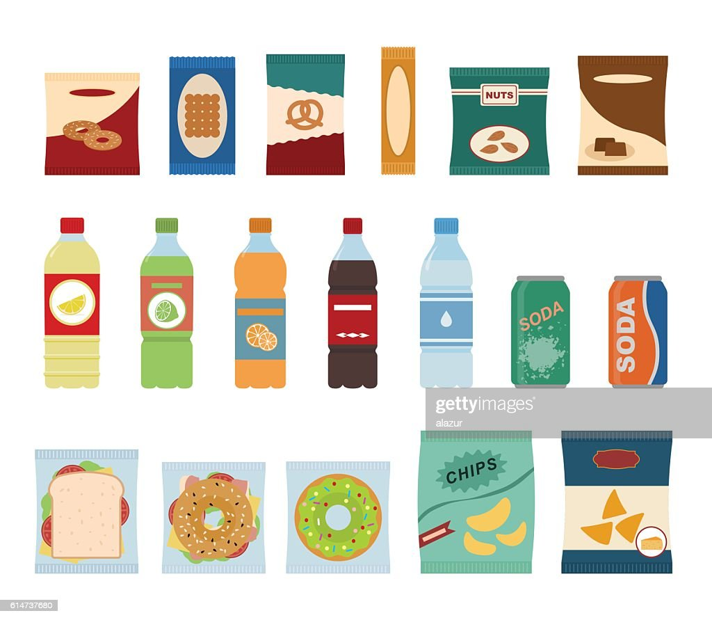Fast food snacks and drinks flat icons.