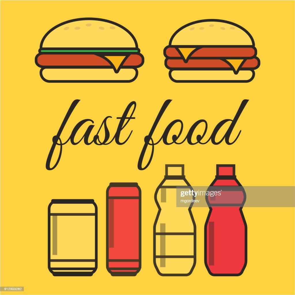 Fastfood Snacks Und Getränke Flache Vektoricons Fastfoodsymbole S ...