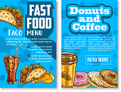 Fast food snacks and meals menu sketch poster