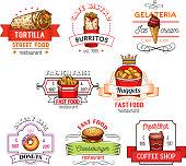 Fast food snacks vector restaurant icons sketch