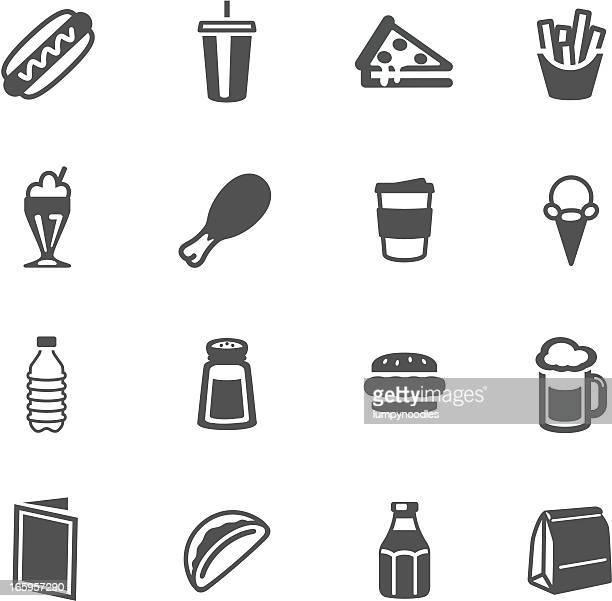 fast food symbols - fast food stock illustrations