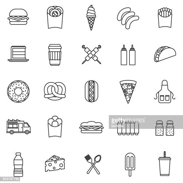 Fast Food Thin Line Icon Set