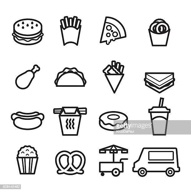 ilustrações de stock, clip art, desenhos animados e ícones de linha fina ícones de rápido comida - batata frita