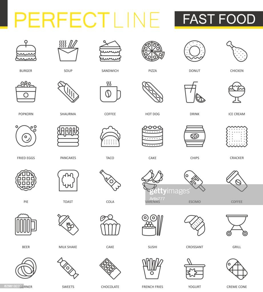 Fast food thin line web icons set. Outline stroke icons design.