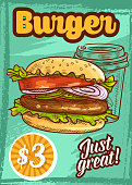 Fast food vector burger fastfood sketch poster