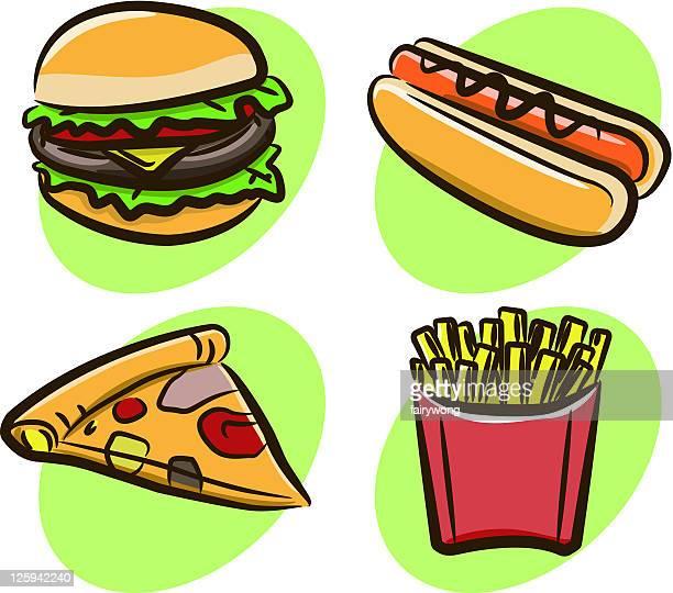 ファーストフード - breakfast cartoon点のイラスト素材/クリップアート素材/マンガ素材/アイコン素材