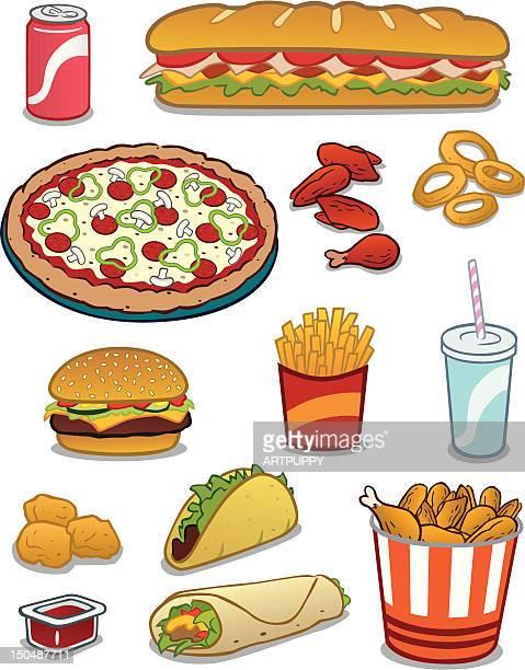 ilustrações, clipart, desenhos animados e ícones de fast food - frito