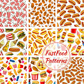 Fast food vector seamless patterns set