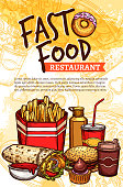 Fast food vector sketch poster for restaurant