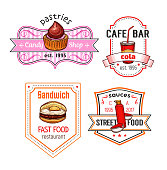 Fast food vector snack meal and desserts icons set
