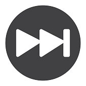 Fast forward glyph icon, web and mobile, audio
