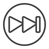 Fast forward line icon, web and mobile, audio sign
