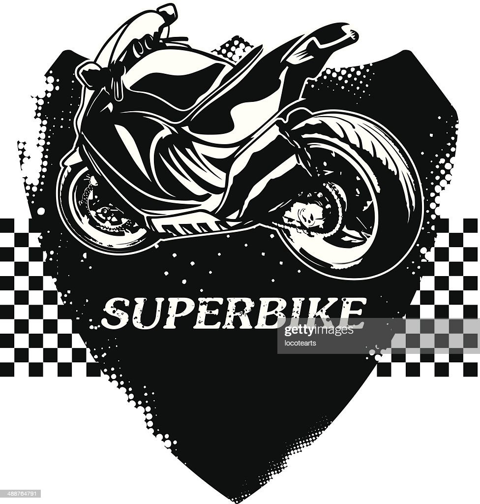 fast super bike with grunge shield