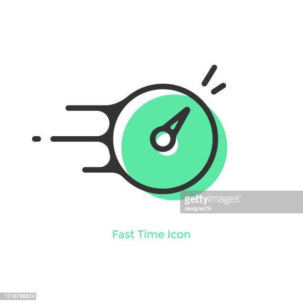 illustrazioni stock, clip art, cartoni animati e icone di tendenza di progettazione vettoriale dell'icona di tempo e orologio veloce. - tempo turno sportivo