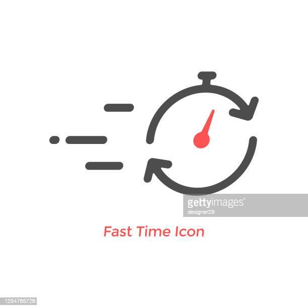 illustrations, cliparts, dessins animés et icônes de icône de ligne de temps rapide. - temps limité