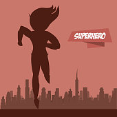Fast woman superhero on city silhouette