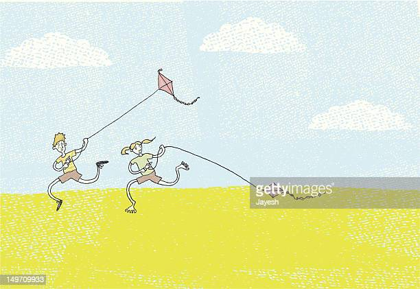 faster! higher! - kite toy stock illustrations, clip art, cartoons, & icons