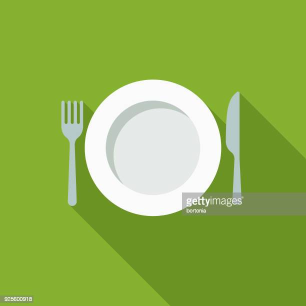 Fasting Flat Design Naturopathy Icon with Side Shadow