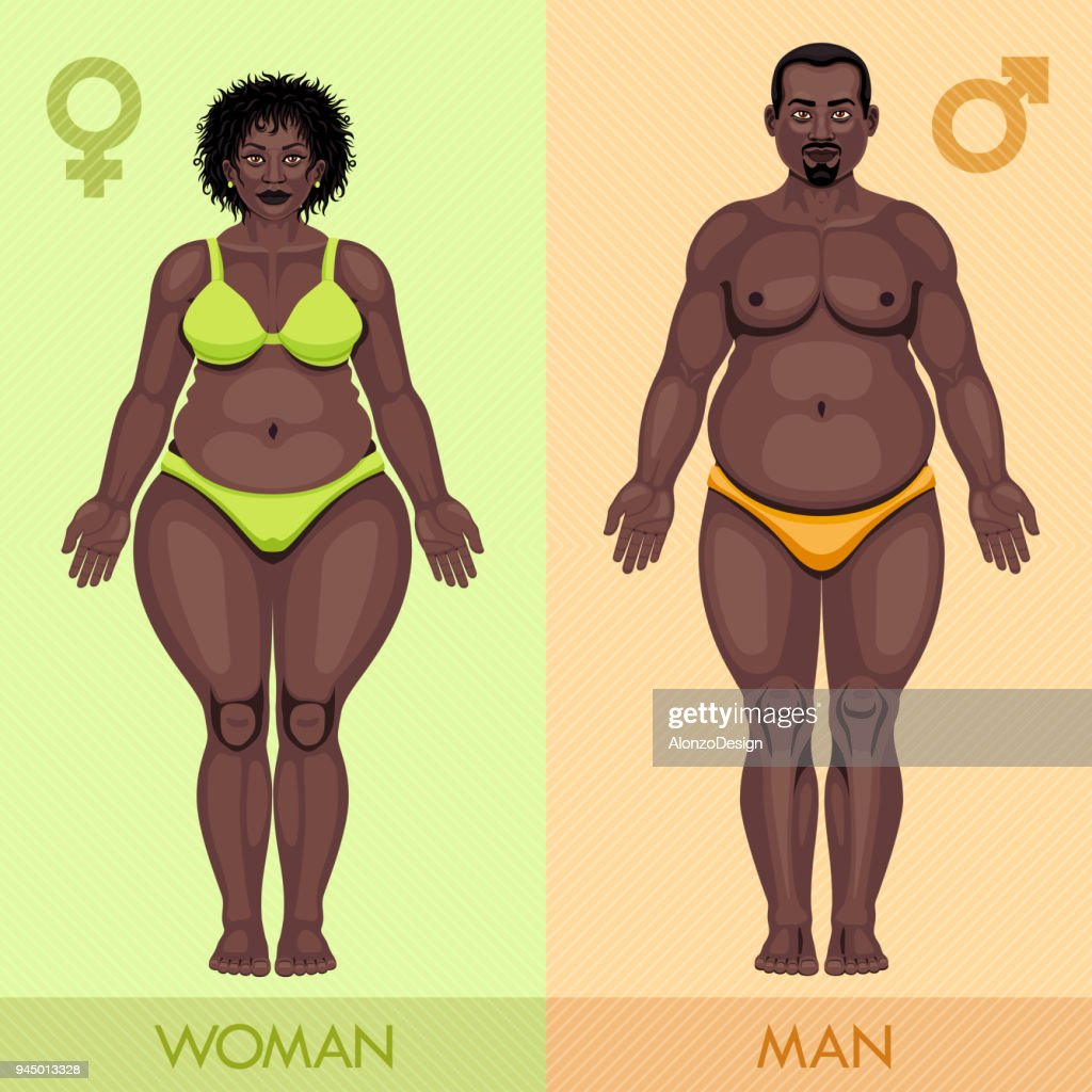 Fat African Man and Woman : Ilustração de stock