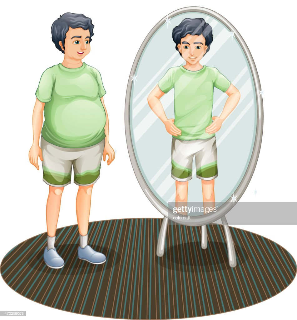 Fat and a skinny man inside the mirror