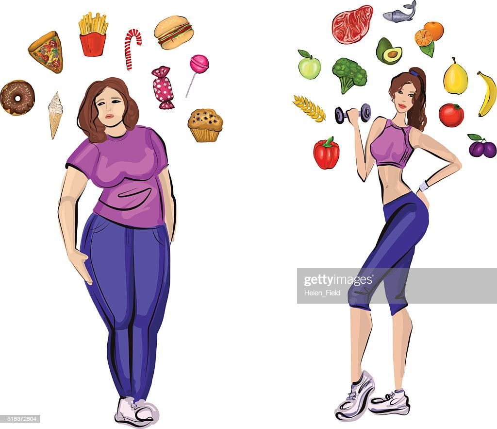 Fat and healthy woman with lifestyle symbols