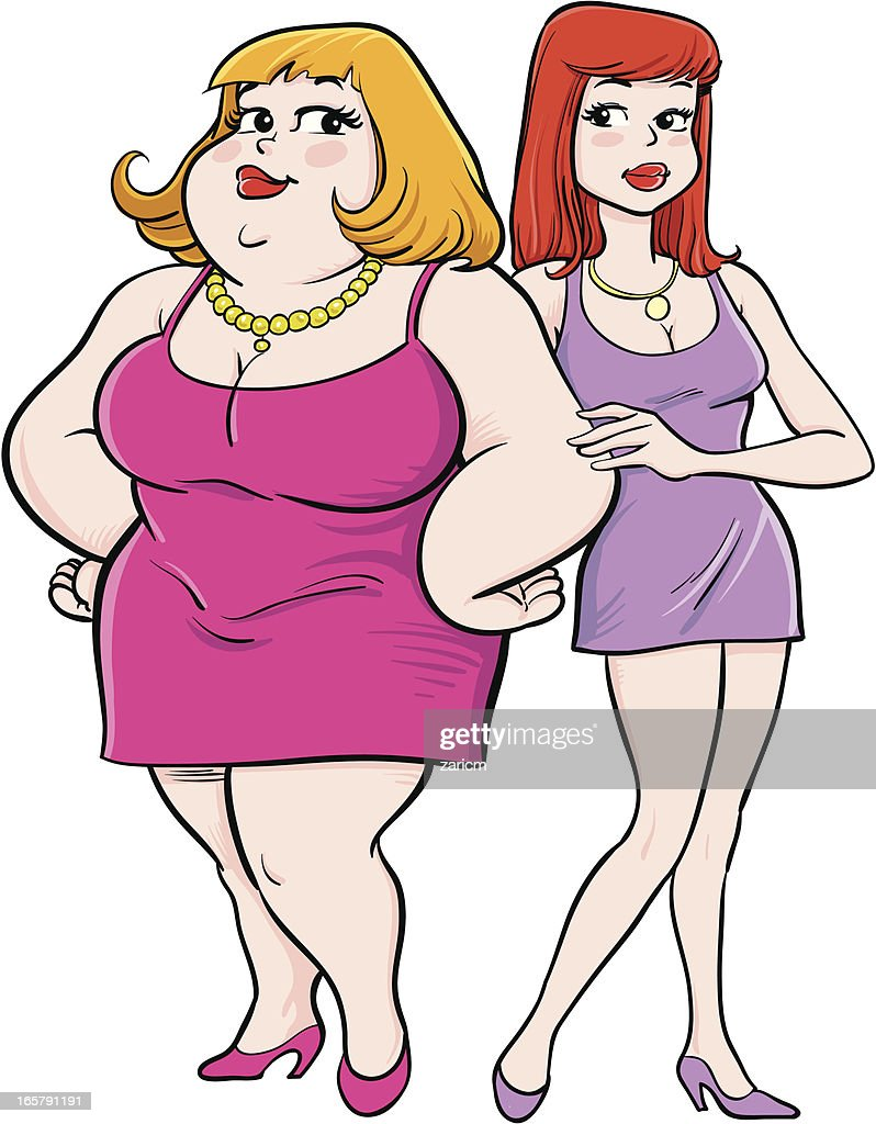 Fat and skinny : stock illustration