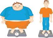 Fat and Slim cartoon men.