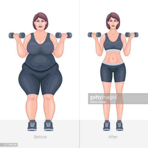 fat and slim girl before and after losing weight - fat female cartoon characters stock illustrations
