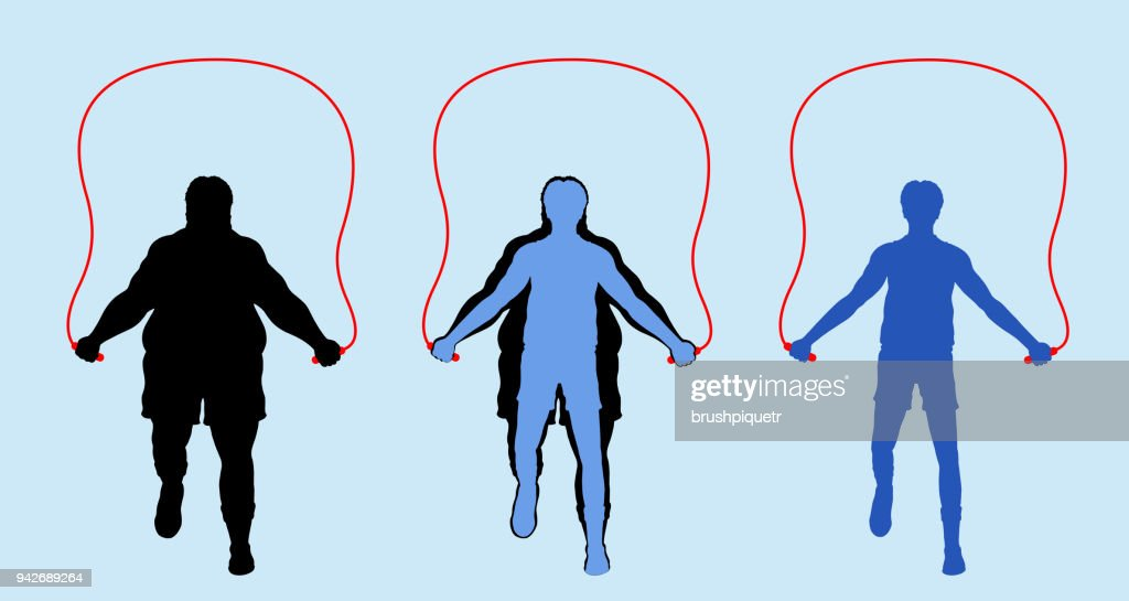 Fat and Slim Man Silhouette Exercising with Jumping Rope